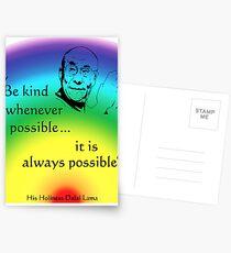 Dalai Lama: Be Kind - Rainbow Background Postcards