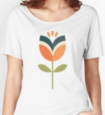 Retro Tulip - Orange and Olive Green Women's Relaxed Fit T-Shirt