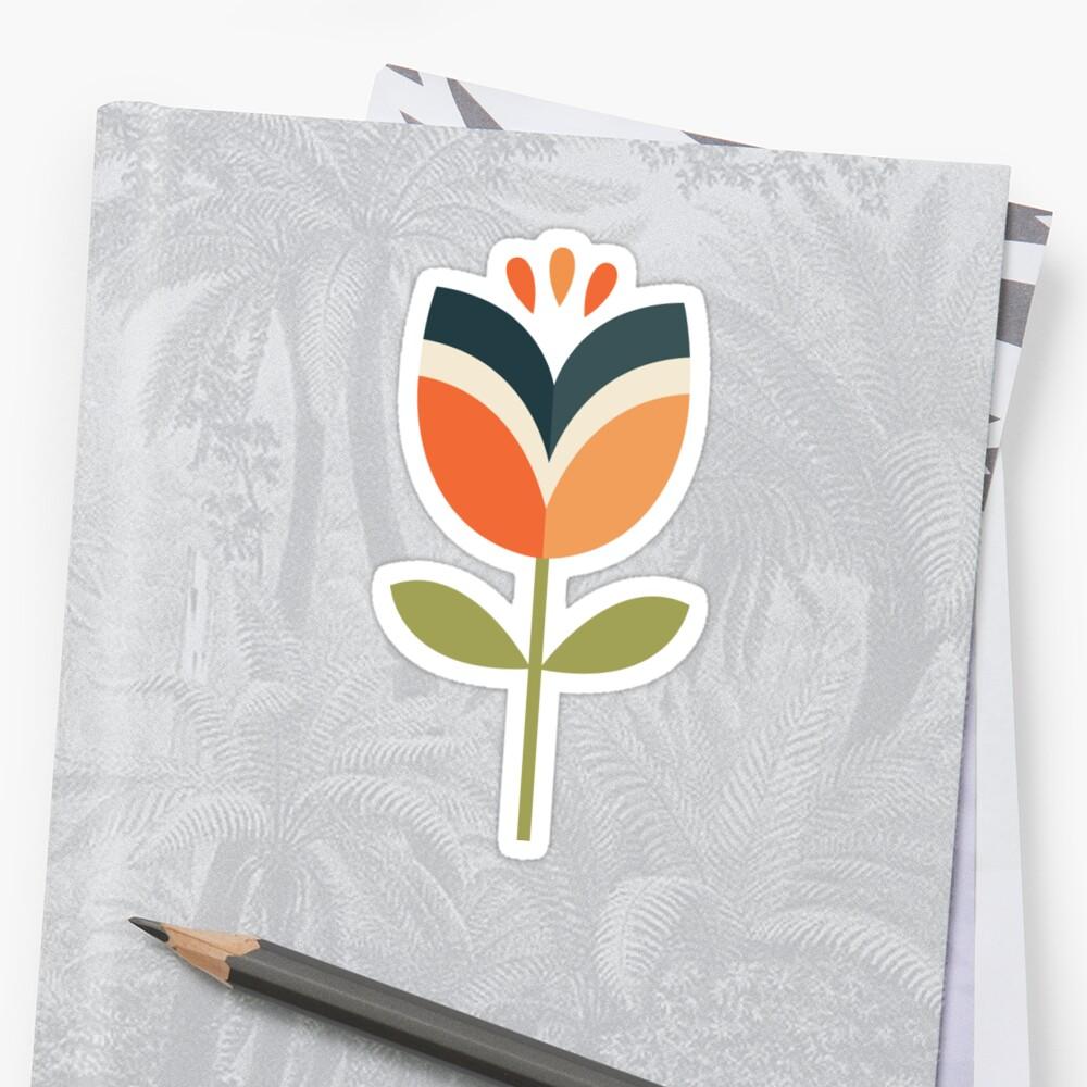 Retro Tulpe - Orange und Olivgrün Sticker
