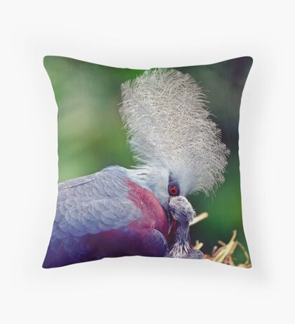 Common Crowned Pigeon and chick Throw Pillow