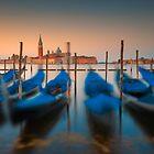 Dancing gondolas at dawn by Delfino