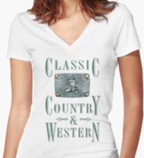 Classic Country & Western (Cowboy Boot) Women's Fitted V-Neck T-Shirt