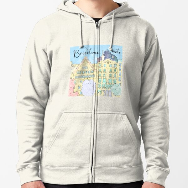 Barcelona mola by Alice Monber Zipped Hoodie