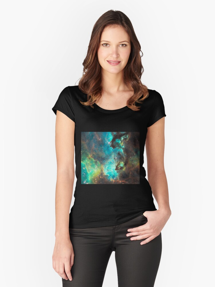 Green Galaxy Women's Fitted Scoop T-Shirt Front