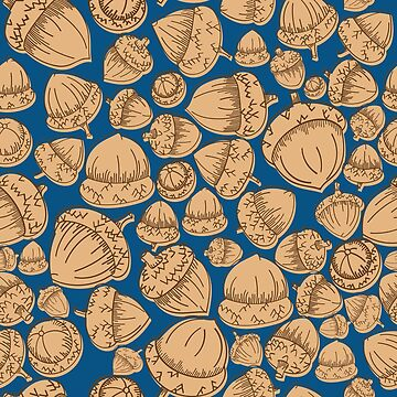 Acorns Offset Blue - repeat pattern design by Jezli Pacheco by BummerGifts