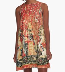 LADY AND UNICORN ,SMELL ,Lion,Fantasy Flowers,Animals Red Green Floral A-Line Dress