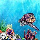 Sea Turtle - Seascape Watercolour by Brazen Design Studio