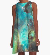 Green Galaxy A-Line Dress