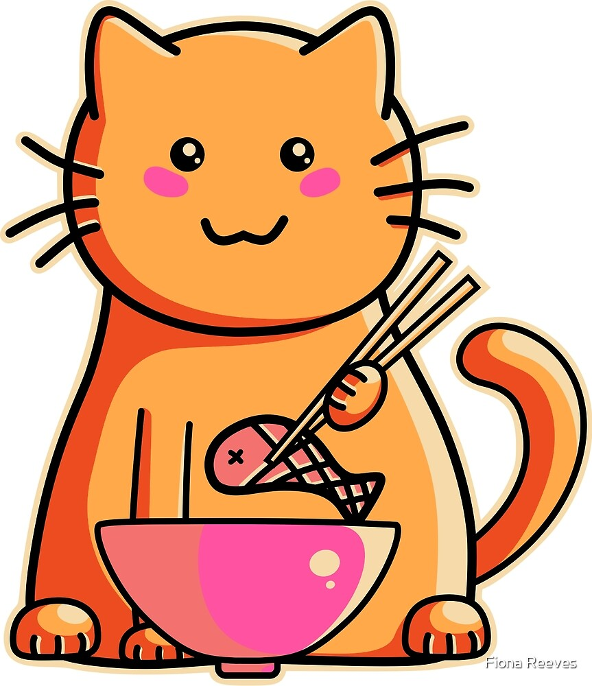 Cute cat eating fish with chopsticks by Fiona Reeves