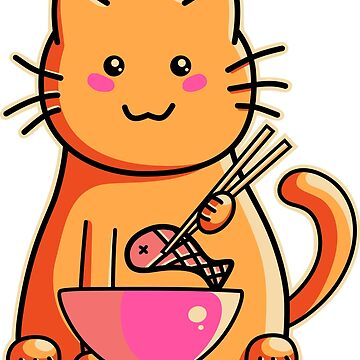 Cute cat eating fish with chopsticks by freeves