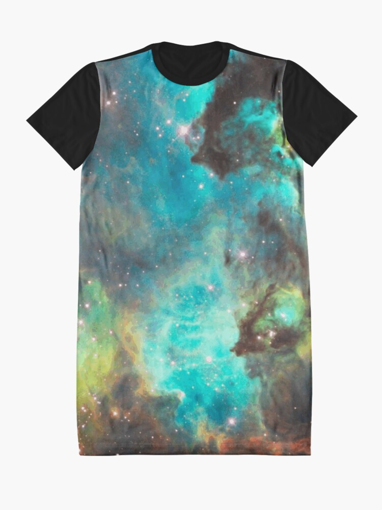 Alternate view of Green Galaxy Graphic T-Shirt Dress