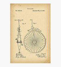 1881 Patent Velocipede Bicycle Unicycle history invention Photographic Print