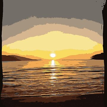 Beach Sunset Vector In Brown Tones by taiche