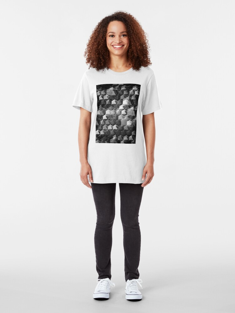 Alternate view of AS THE CURTAIN FALLS (MONOCHROME) Slim Fit T-Shirt