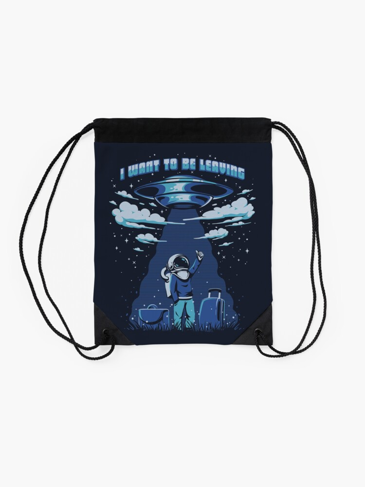 Alternate view of I want to be leaving Drawstring Bag