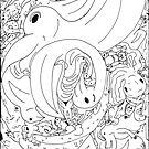 Animal tessellation madness with swans and crocodiles and all sorts of stuff by lwcomic