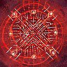 Dit dot dash - red abstract watercolor by Dan Vera by danvera