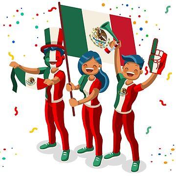Mexico Flag Football Fans by aurielaki