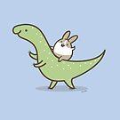 Bunny Rabbit on a Dinosaur by zoel