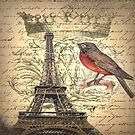 bird vintage crown french scripts paris eiffel tower  by lfang77