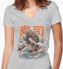 Great Sushi Dragon  Fitted V-Neck T-Shirt