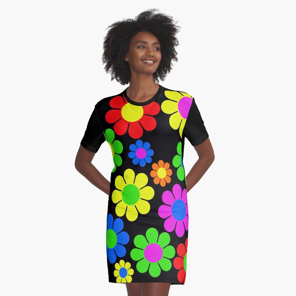 Hippy Flower Daisy Spring Pattern Graphic T-Shirt Dress