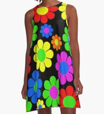 Hippy Flower Daisy Spring Pattern A-Line Dress