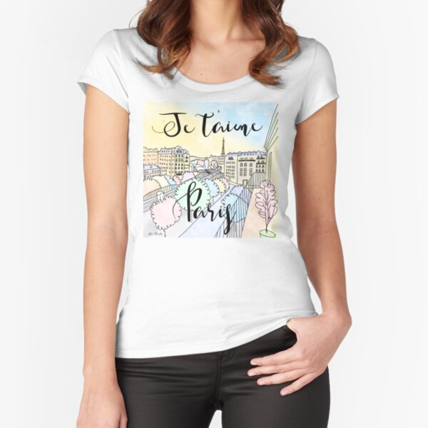 Je t'aime Paris by Alice Monber Fitted Scoop T-Shirt