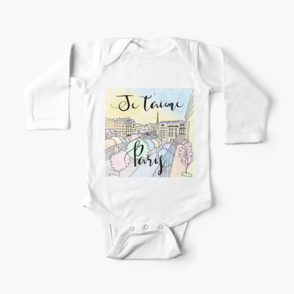 Je t'aime Paris by Alice Monber Long Sleeve Baby One-Piece