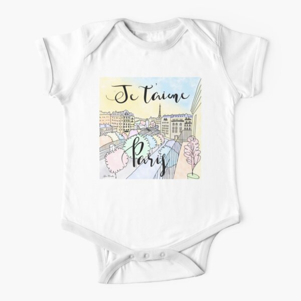 Je t'aime Paris by Alice Monber Short Sleeve Baby One-Piece