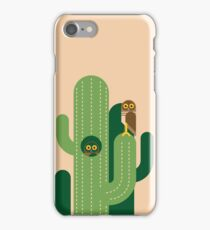 Burrowing owls and cacti vector illustration iPhone Case/Skin