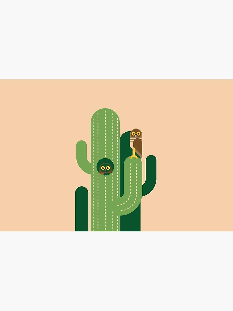 Graben von Eulen und Kakteen Vektor-Illustration von GA-Studio