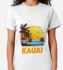 Old School Kauai Sun Sand Beach Palm Tree Classic T-Shirt
