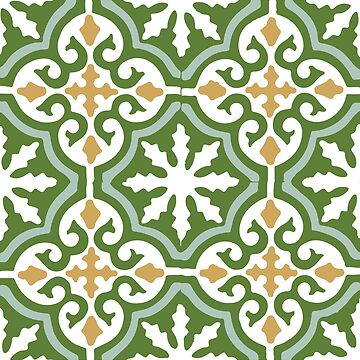 Moroccan traditional geometric mosaic pattern in Green and Yellow by koovox