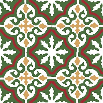 Moroccan traditional geometric mosaic pattern in Green and Red by koovox