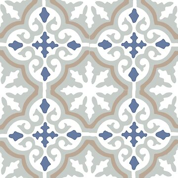 Moroccan traditional geometric mosaic pattern in Grey and Blue by koovox