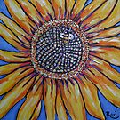 sunflower and bee close up by Roxiartwork