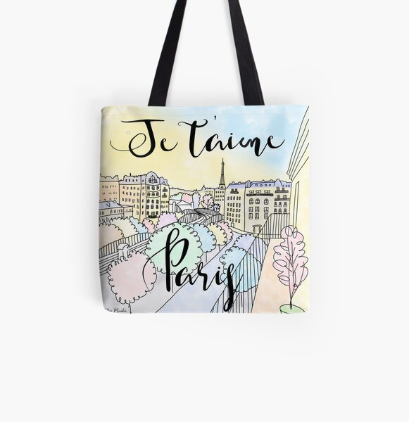 Je t'aime Paris by Alice Monber All Over Print Tote Bag