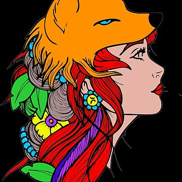Fox woman drawing tattoo by MrProDesign