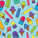 Bright Colored Ice Cream Cones and Popsicles by Pamela Maxwell