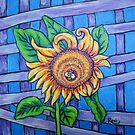 sunflower bee and lattice by Roxiartwork