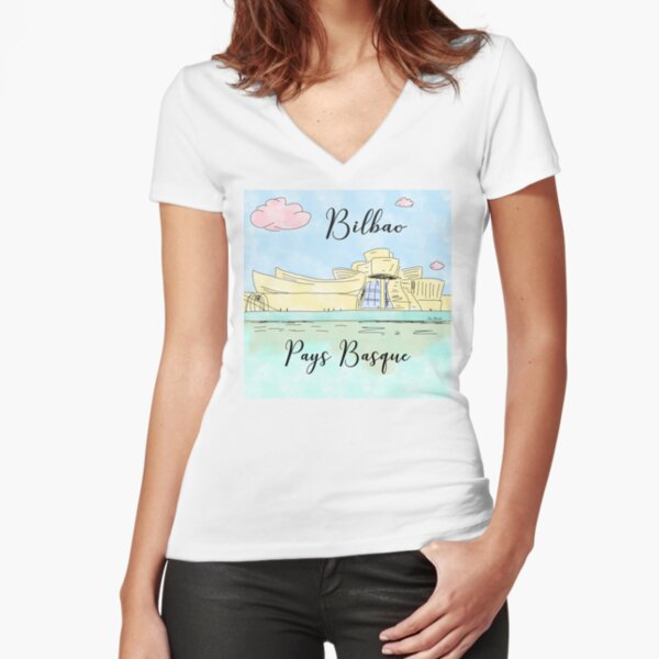 Bilbao Pays Basque by Alice Monber Fitted V-Neck T-Shirt