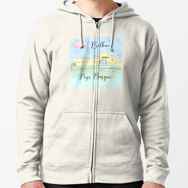 Bilbao Pays Basque by Alice Monber Zipped Hoodie