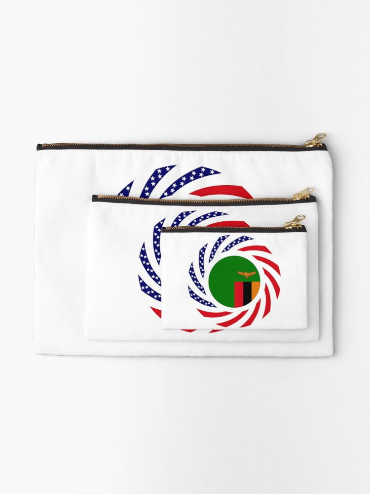 Alternate view of Zambian American Multinational Patriot Flag Series Zipper Pouch