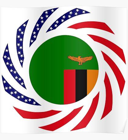 Zambian American Multinational Patriot Flag Series Poster