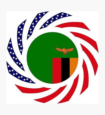 Zambian American Multinational Patriot Flag Series Photographic Print