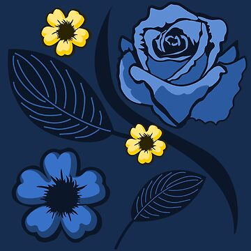Blue Summer Roses Pattern by pda1986