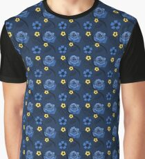 Blue Summer Roses Pattern Graphic T-Shirt