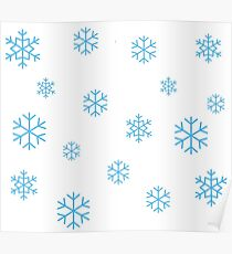 Light Blue Snow Flakes Poster