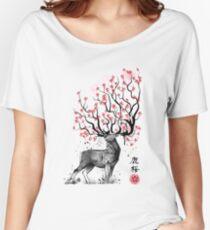 Sakura Deer Women's Relaxed Fit T-Shirt